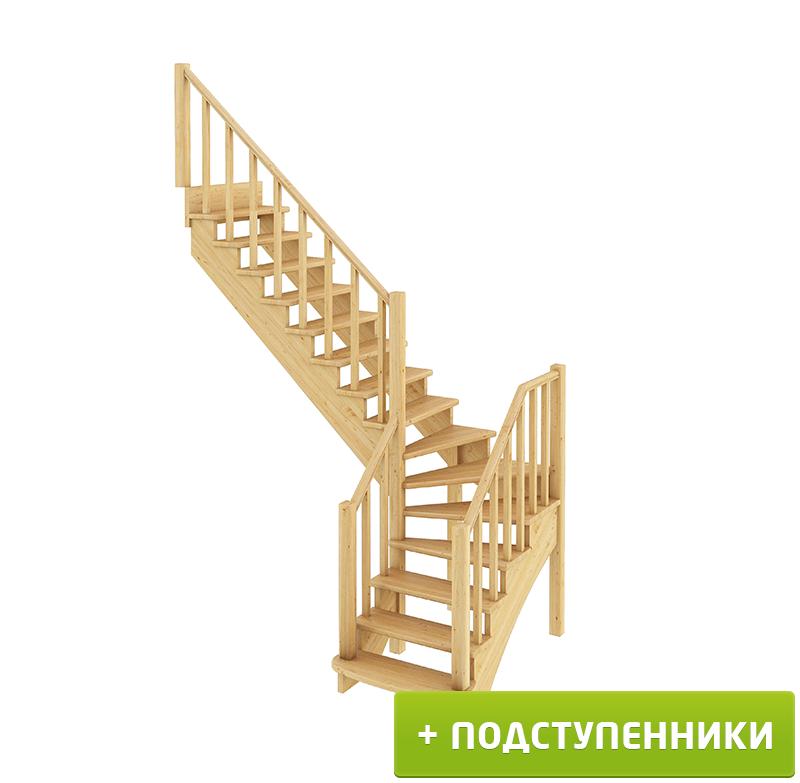 Лестница К-021м Л с подступенками сосна (7 уп)